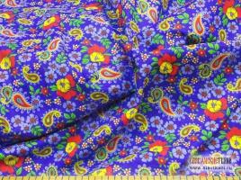 """Ситец, хлопок, рисунок: """"полевые цветы с восточным огурцом на синем"""", ширина 80 см"""