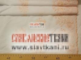 """Вышитая ткань, хлопок, рисунок """"цветы по кайме"""", цвет персиковый, ширина 103 см"""