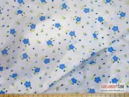 """Батист, хлопок, рисунок """"голубые цветы на белом"""", ширина 150 см"""