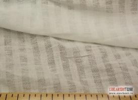 Лен/хлопок, декоративный, разряженный, полоска, белый, ширина 150 см
