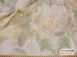 "лён, рисунок ""лилии на белом"", ширина 150 см"