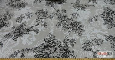 """Лён/хлопок, рисунок """"чёрные розы на сером"""", ширина 150 см"""