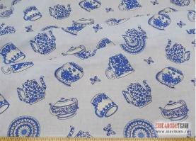"""Лён/хлопок, рисунок """"чайный сервиз на голубом"""", ширина 150 см"""