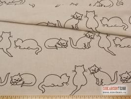 """лён/хлопок, рисунок: """"чёрные кошки на сером"""", ширина 150 см"""