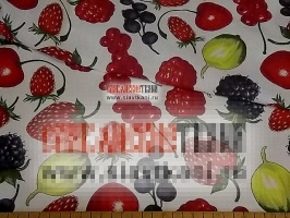 """лён/хлопок, рисунок """"спелые ягоды на белом"""", ширина 150 см"""