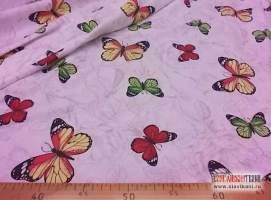 """лён/хлопок, рисунок """"бабочки на белых цветах"""", ширина 150 см"""