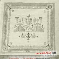 лён/хлопок, салфетки и полотенце на полотне, с Макошом и кониками на белом (края не обработаны), ширина 150 см