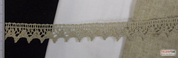 Кружев из льна, цвет серый, ширина 20 мм