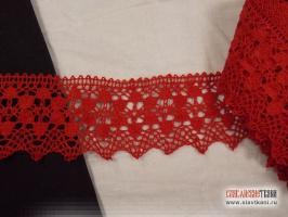 Кружево льняное, цвет красный, ширина 52 мм