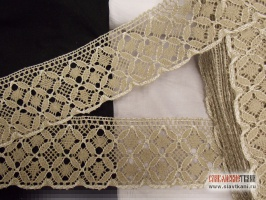 Кружево из льна, цвет белый/серый, ширина 85 мм