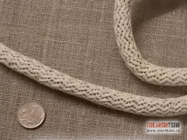 Шнур, лён, цвет сурово-белый, диаметр 9 мм