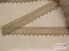 Кружево из льна, цвет: серый, ширина  19 мм,