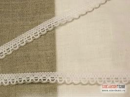 Кружево из льна, цвет: бело-серый, ширина  12 мм,