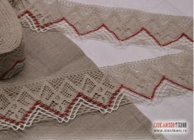 Кружево из льна, цвет: серый, красный, белый, ширина  85 мм,