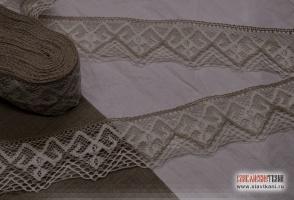 Кружево из льна, цвет: серый, белый, ширина  85 мм,