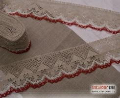 Кружево из льна, цвет: серый, белый, красный, ширина  85 мм,