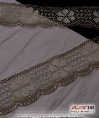 """Кружево из льна, рисунок """"ромашка"""", цвет: серый, белый, ширина 70 мм,"""