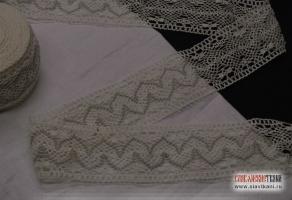 Кружево из льна, цвет: белый, серый; ширина 55 мм,