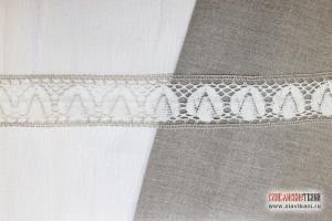 """Кружево из льна, цвет серый с белым, рисунок """"тюльпан"""", ширина 58 мм"""
