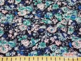 """Вискоза, набивной рисунок """"сине-бирюзовые цветы на черном"""", ширина 140 см."""