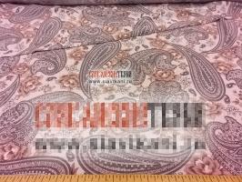 """Вискоза, набивной рисунок """"серый восточный огурец с бежевыми цветами"""", ширина 155 см"""