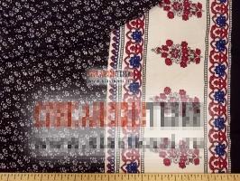 """Вискоза, набивной рисунок """"цветы на чёрном, с каймой"""", ширина 140 см"""