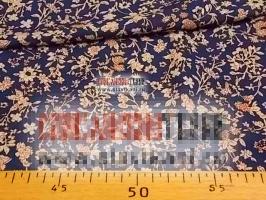 """Вискоза, набивной рисунок """"бежевые цветы на синем"""", ширина 140 см."""