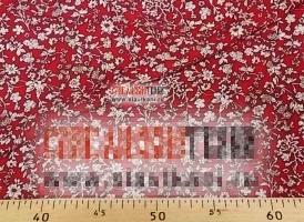 """Вискоза, набивной рисунок """"светло-бежевые цветы на красном"""", ширина 140 см."""