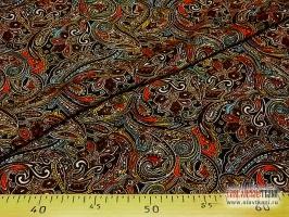 """Вискоза, набивной рисунок """"восточная мозайка на красном"""", ширина 140 см"""
