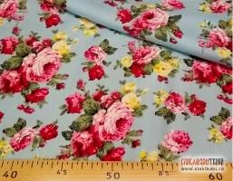 """Вискоза, рисунок """"жёлто-розовые розы на голубом"""", ширина 140 см."""