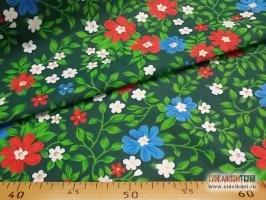 """Фланель, рисунок """"красные, синии цветы на зелёном"""", ширина 150 см"""
