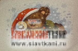 """Декоративная наволочка, гобелен, рисунок """"медвежонок на снегу"""", 45х63 см."""