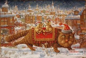 """Декоративная наволочка, гобелен, рисунок """"Кот и мышки"""", 45х63 см."""