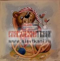 "Декоративная наволочка, гобелен, рисунок ""Медвежонок в кресле"", 43х43 см."