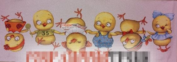"""Декоративная наволочка, гобелен, рисунок """"Весёлые цыплята"""", 85х30 см."""