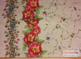 """Рогожка, хлопок, рисунок """"цветочный орнамент на бежевом"""", ширина 150 см"""