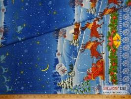 """Рогожка, хлопок, рисунок """"Новогодний"""", ширина 150 см."""