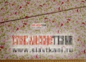 """Поплин, хлопок, рисунок """"розовые цветы на нежно-кремовом поле"""", ширина 220 см"""