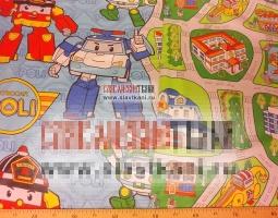 """Поплин, хлопок, детский рисунок """"роботы в городе"""", ширина 150 см"""