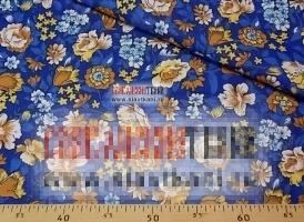 """Бязь, хлопок, рисунок """"бежевые цветы на синем"""", ширина 150 см"""