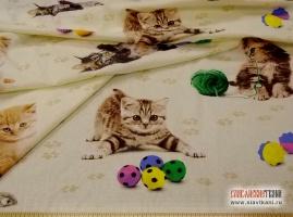 """Бязь, хлопок, детский рисунок: """"котята"""", ширина 150 см"""