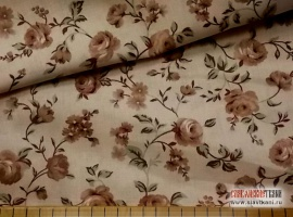 """(1) Бязь, хлопок, рисунок """"крупные, бежевые цветы на кремовом"""", ширина 220 см"""