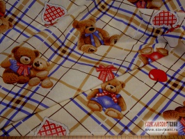 "Бязь, хлопок, детский рисунок ""медвежата с бантиками"", ширина 150 см"