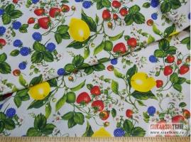 """Хлопок, саржа, набивной рисунок """"ягоды с лимоном"""", ширина 150 см"""