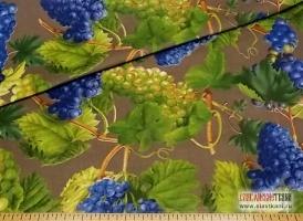 """Хлопок, саржа, рогожка, рисунок """"виноград на сером"""", ширина 150 см"""