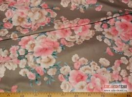 """Сатин, хлопок, рисунок """"розово-бежевые цветы на сером"""", ширина 220 см"""