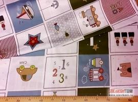 """Сатин, хлопок, детский рисунок """"детские квадратики с рисунком"""", ширина 160 см"""