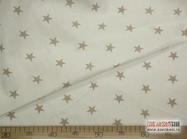 """Сатин, хлопок, рисунок """"серые звезды на белом"""", ширина 160 см"""