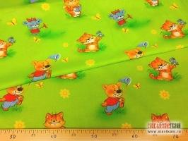 "Ситец, хлопок, детский рисунок: ""лето на лужайке"", ширина 80 см"