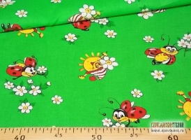 """Ситец, хлопок, детский рисунок: """"солнышко на зелёной полянке"""", ширина 80 см"""